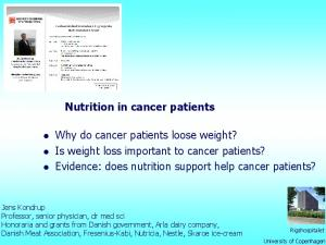 Nutrition in cancer patients