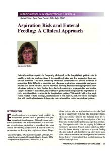 NUTRITION ISSUES IN GASTROENTEROLOGY, SERIES #4. Aspiration Risk and Enteral Feeding: A Clinical Approach