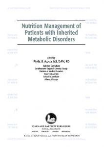 Nutrition Management of Patients with Inherited Metabolic Disorders