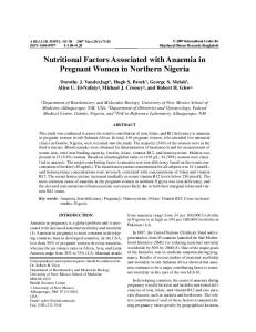 Nutritional Factors Associated with Anaemia in Pregnant Women in Northern Nigeria