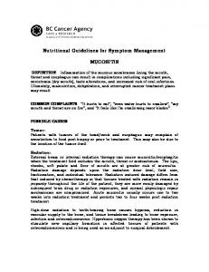 Nutritional Guidelines for Symptom Management MUCOSITIS