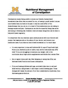 Nutritional Management of Constipation