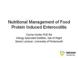 Nutritional Management of Food Protein Induced Enterocolitis