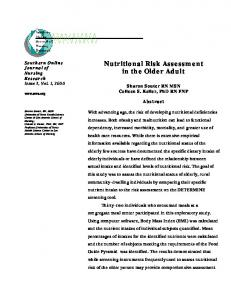 Nutritional Risk Assessment in the Older Adult