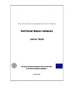 Nutritional Status Indicators. Learner Notes