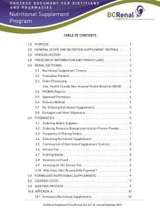 Nutritional Supplement Program