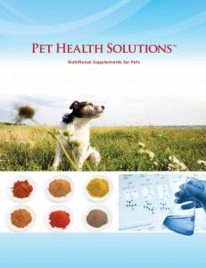 Nutritional Supplements for Pets