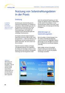 Nutzung von Solarstrahlungsdaten in der Praxis