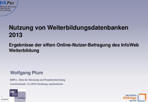 Nutzung von Weiterbildungsdatenbanken 2013