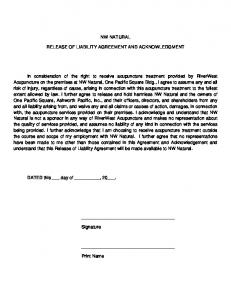 NW NATURAL RELEASE OF LIABILITY AGREEMENT AND ACKNOWLEDGMENT