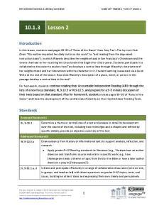 NYS Common Core ELA & Literacy Curriculum Grade 10 Module 1 Unit 3 Lesson 2