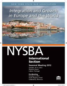 NYSBA. International Section. Seasonal Meeting 2012 October 10-13, 2012 Pestana Palace Lisbon, Portugal NEW YORK STATE BAR ASSOCIATION