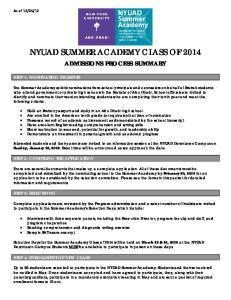 NYUAD SUMMER ACADEMY CLASS OF 2014