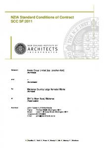 NZIA Standard Conditions of Contract SCC SF:2011