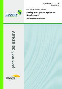 NZS ISO 9001:2008