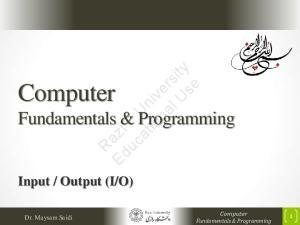 O) Computer Fundamentals & Programming. Dr