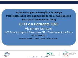 O EIT e o Horizonte 2020