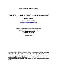 O MACROECONOMISTA COMO CIENTISTA E ENGENHEIRO