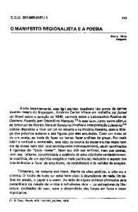 O MANIFESTO REGIONALISTA E A POESIA