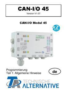 O Modul 45. Programmierung Teil 1: Allgemeine Hinweise. Version V1.07