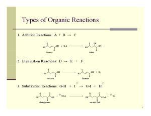 O O + H 2 O HO O OH O O. 2. Elimination Reactions: D E + F OH HO + H 2 HO O. 3. Substitution Reactions: G-H + I G-I + H. + SCoA HO