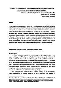 O PAPEL DA COMUNIDADE ESCOLAR FRENTE AO (DES)INTERESSE DOS ALUNOS AO LONGO DO ENSINO FUNDAMENTAL