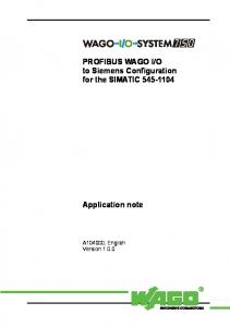 O to Siemens Configuration for the SIMATIC Application note