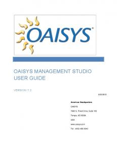 OAISYS MANAGEMENT STUDIO USER GUIDE