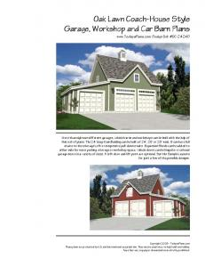 Oak Lawn Coach-House Style Garage, Workshop and Car Barn Plans