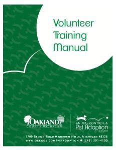 Oakland County Animal Control & Pet Adoption Center Volunteer Training Manual 2
