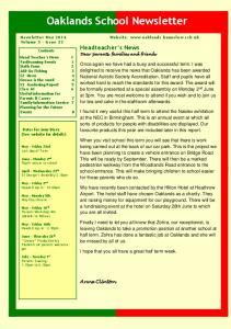 Oaklands School Newsletter