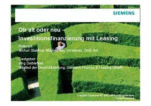 Ob alt oder neu Investitionsfinanzierung mit Leasing