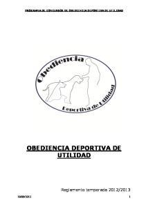 OBEDIENCIA DEPORTIVA DE UTILIDAD