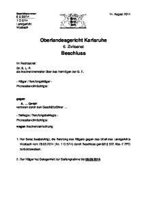 Oberlandesgericht Karlsruhe. Beschluss
