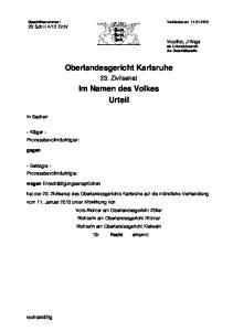 Oberlandesgericht Karlsruhe. Im Namen des Volkes Urteil