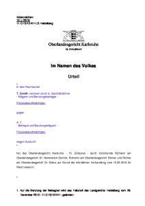 Oberlandesgericht Karlsruhe. Im Namen des Volkes. Urteil