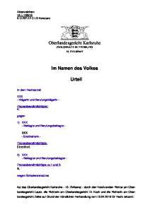 Oberlandesgericht Karlsruhe ZIVILSENATE IN FREIBURG. Im Namen des Volkes. Urteil