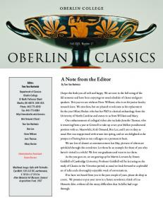 Oberlin. Classics. A Note from the Editor. Fall 2009, Number 17