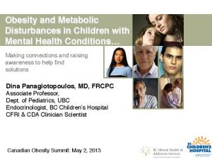 Obesity and Metabolic Disturbances in Children with Mental Health Conditions!
