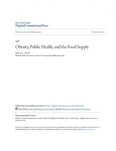 Obesity, Public Health, and the Food Supply
