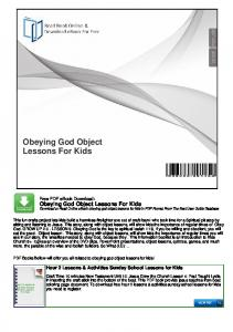 Obeying God Object Lessons For Kids