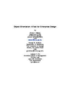 Object-Orientation: A Tool for Enterprise Design