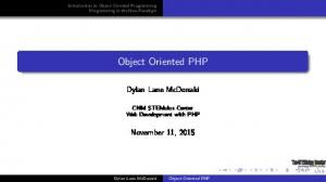 Object Oriented PHP. Dylan Lane McDonald. November 11, CNM STEMulus Center Web Development with PHP