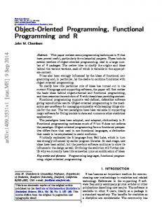 Object-Oriented Programming, Functional Programming and R