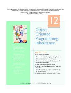 Object- Oriented Programming: Inheritance