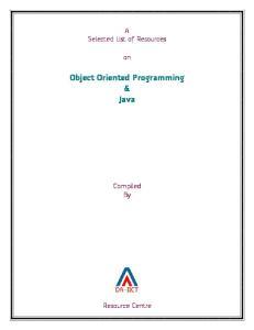 Object Oriented Programming & Java
