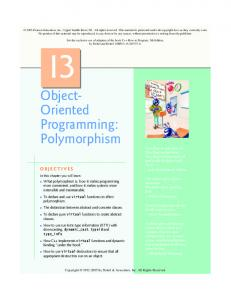 Object- Oriented Programming: Polymorphism