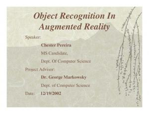 Object Recognition In Augmented Reality