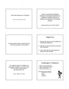 Objectives. Challenges in Pediatrics