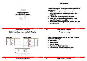 Objectives. Displaying Data from Multiple Tables. Types of Joins. Obtaining Data from Multiple Tables